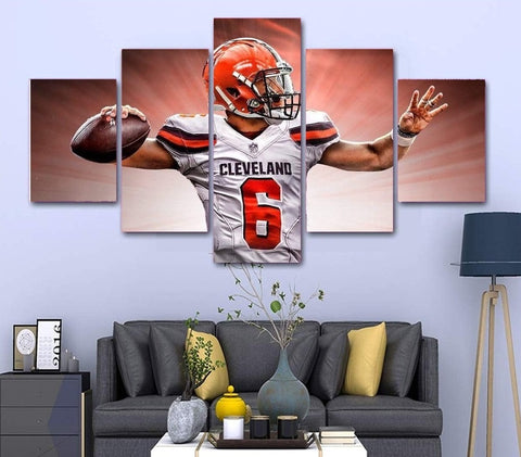 Cleveland Browns Baker Mayfield Wall Art Painting Canvas Framed Poster