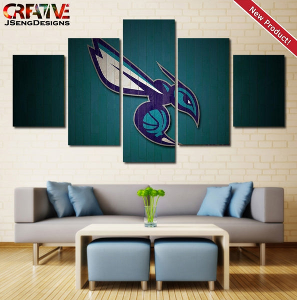 Charlotte Hornets Wall Art Canvas Painting Picture Poster HD Framed 5 Piece