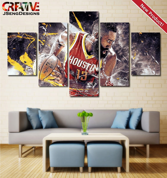 James Harden Wall Art Canvas NBA Painting Poster Houston Rockets