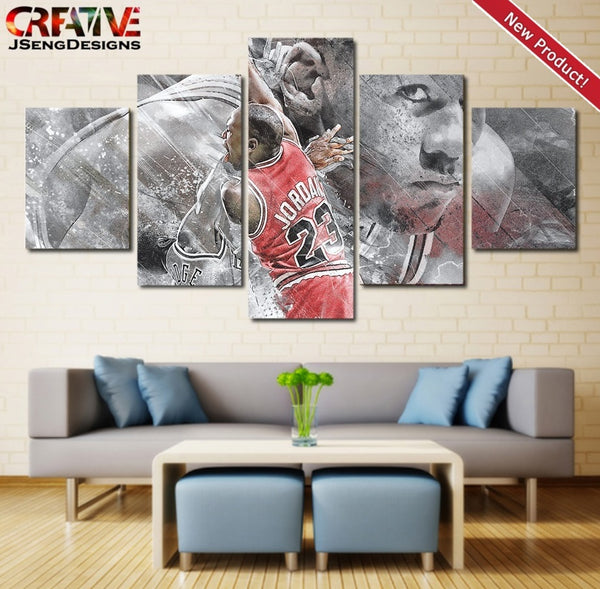 Michael Jordan Wall Art Painting Canvas Bulls Poster Home Decor Print 5 Piece.