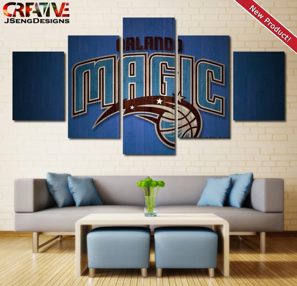 Orlando Magic Painting Poster Print 5 Piece Wall Art Canvas Framed Decor NBA.