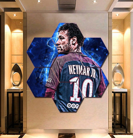 Neymar Wall Art | Canvas Painting Framed hexagon