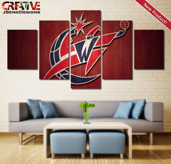 Washington Wizards Wall Art Canvas Painting Poster 5 Piece Print Framed NBA Logo