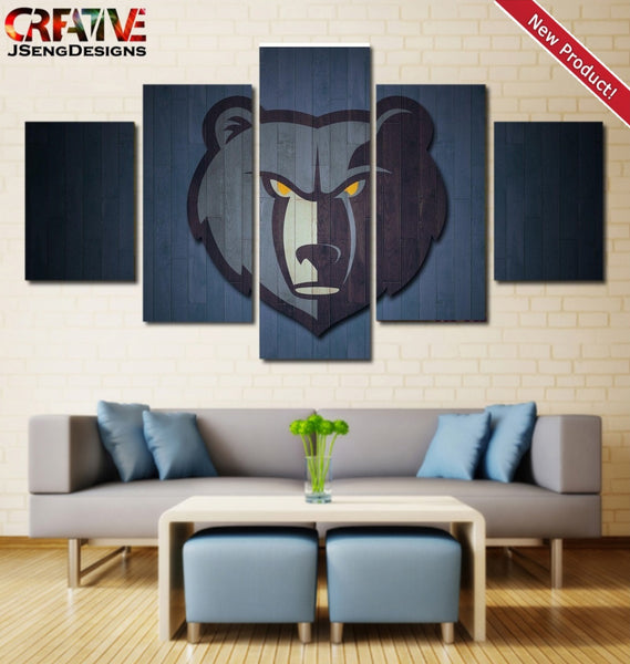Wall Art Canvas Memphis Grizzlies Painting Picture Poster HD Framed 5 Piece Logo