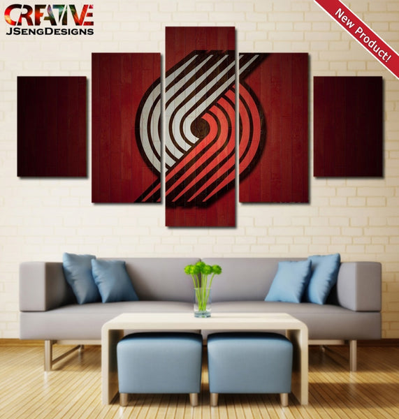Portland Trail Blazers Painting Poster NBA 5 Piece Wall Art Canvas Framed Decor.