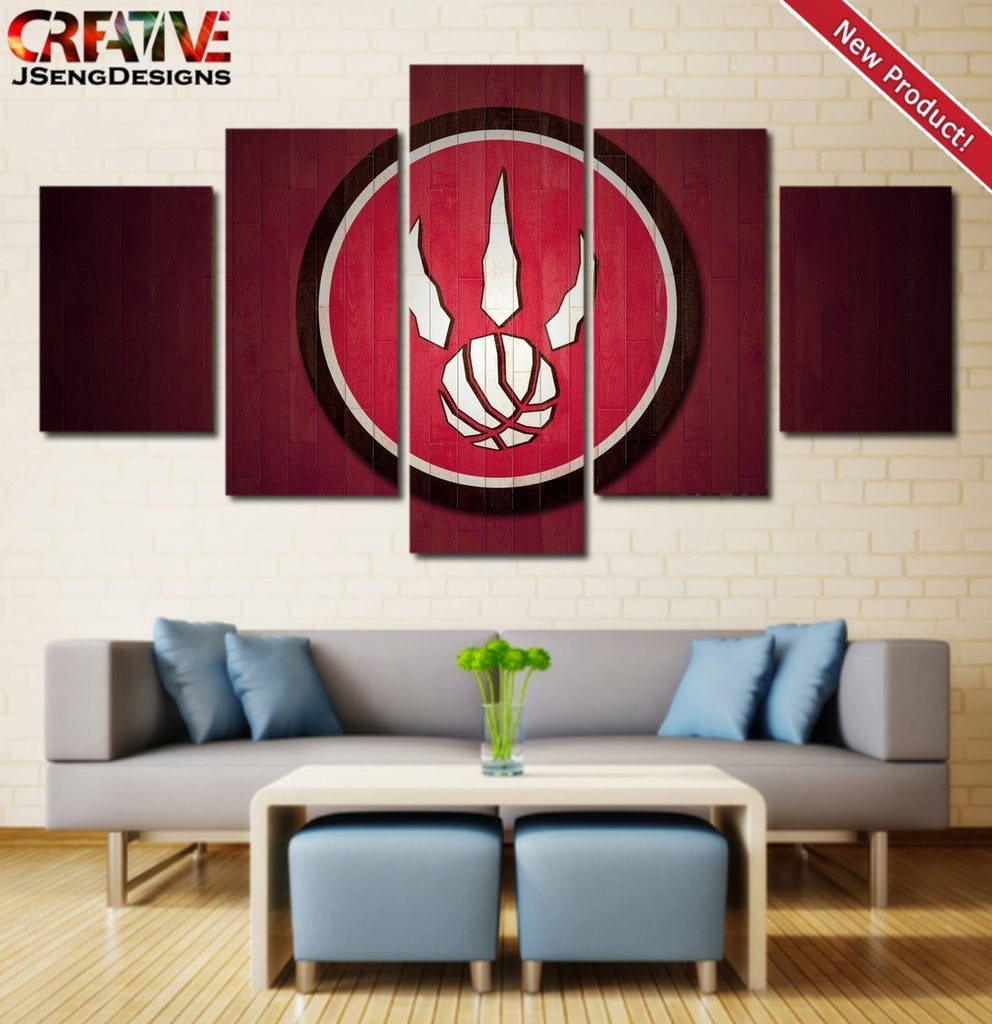 Toronto Raptors Painting Poster 5 Piece Wall Art Canvas Framed NBA Home Decor