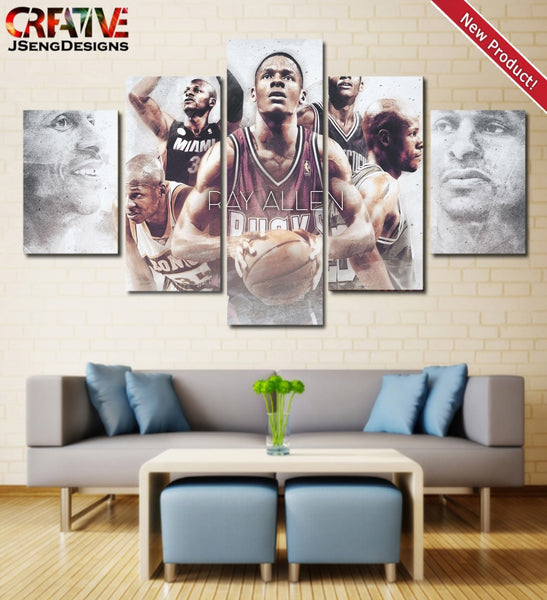 Ray Allen Poster HD Home Decor Print Timberwolves Wall Art Painting On Canvas.
