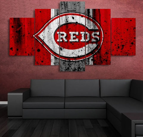 Cincinnati Reds Wall Art Canvas Painting 5 piece
