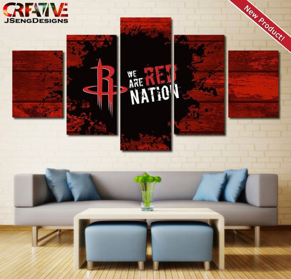 Houston Rockets Wall Art Canvas Painting Poster 5 Piece Framed NBA Home Decor