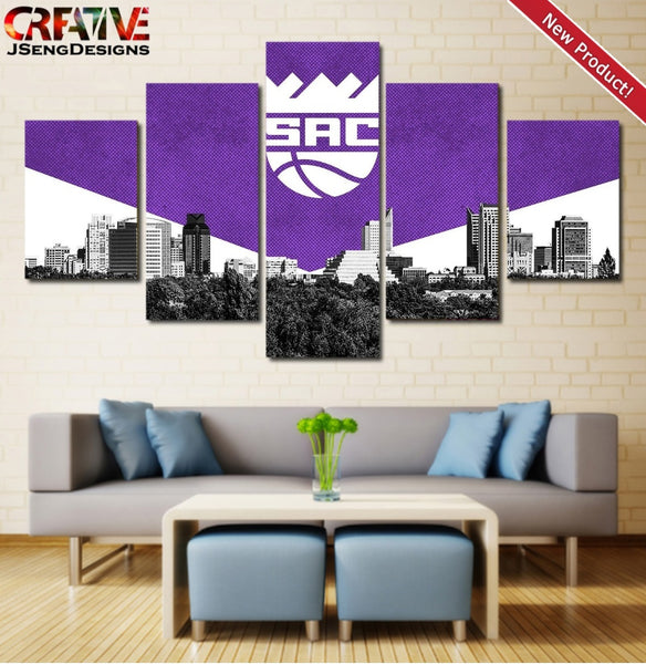 Sacramento Kings Wall Art Canvas Painting Poster HD Home Decor Framed NBA