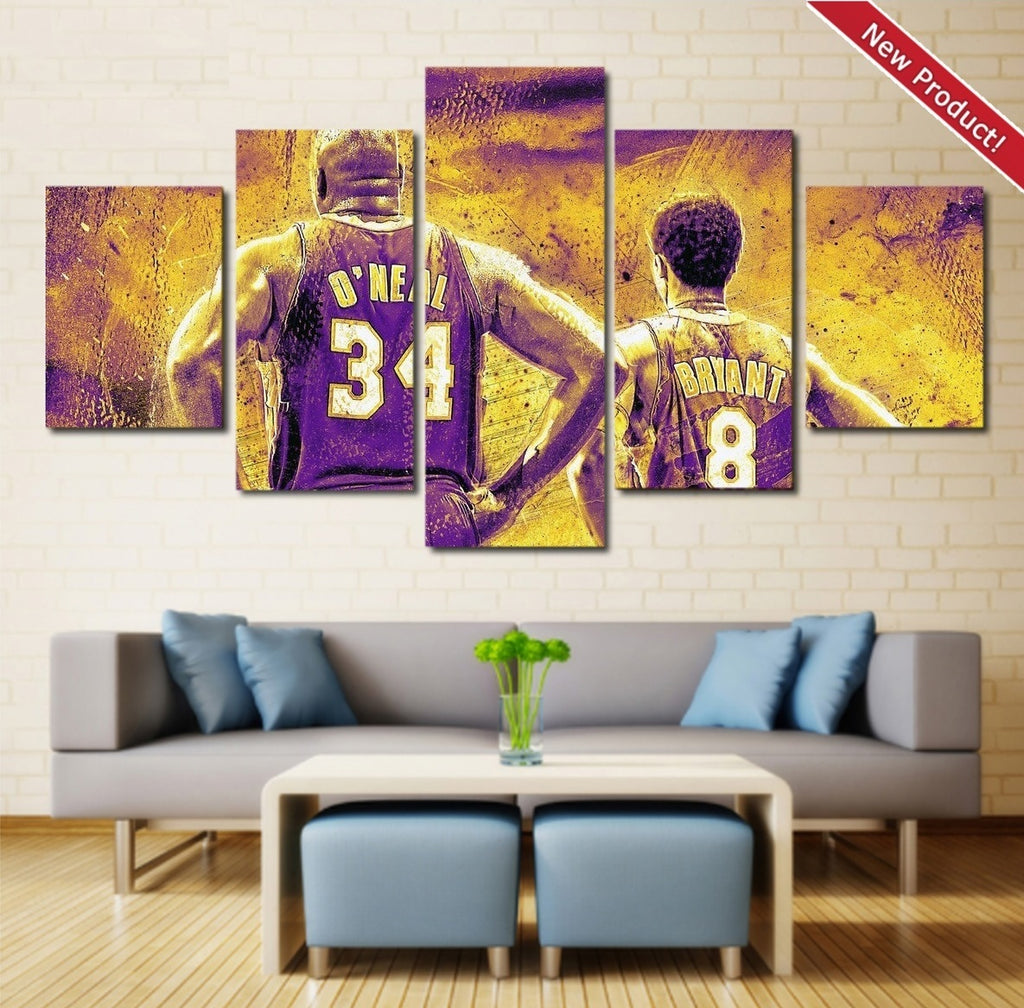 Shaquille O'Neal Wall Art Painting On Canvas Poster Decor Shaq And Kobe Bryant.