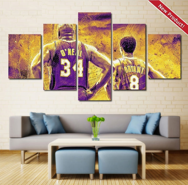 Shaq And Kobe Wall Art Painting Canvas Poster Decor Framed