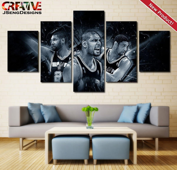 Tim Duncan Wall Art Painting On Canvas Poster Decor 5 Piece Picture HD Spurs.