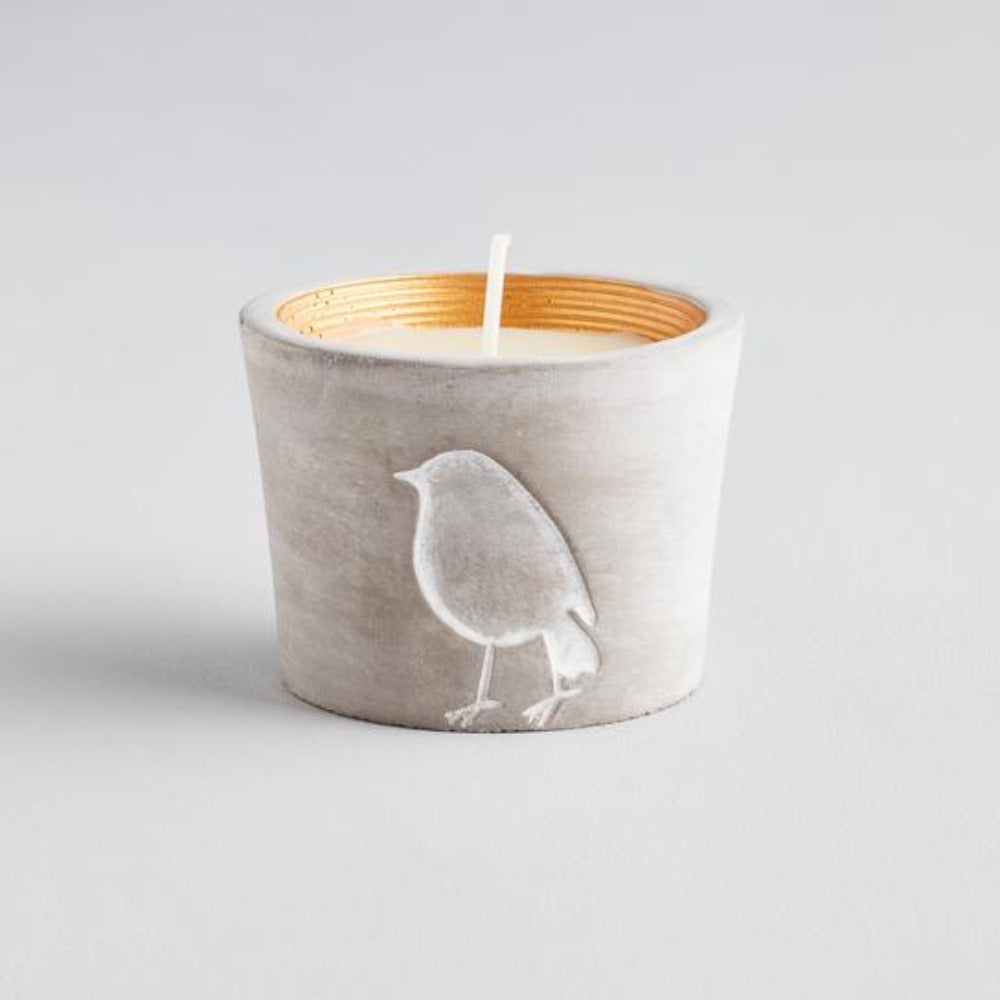 grey pot with robin imprint and gold inner rim with candle wax and wickl