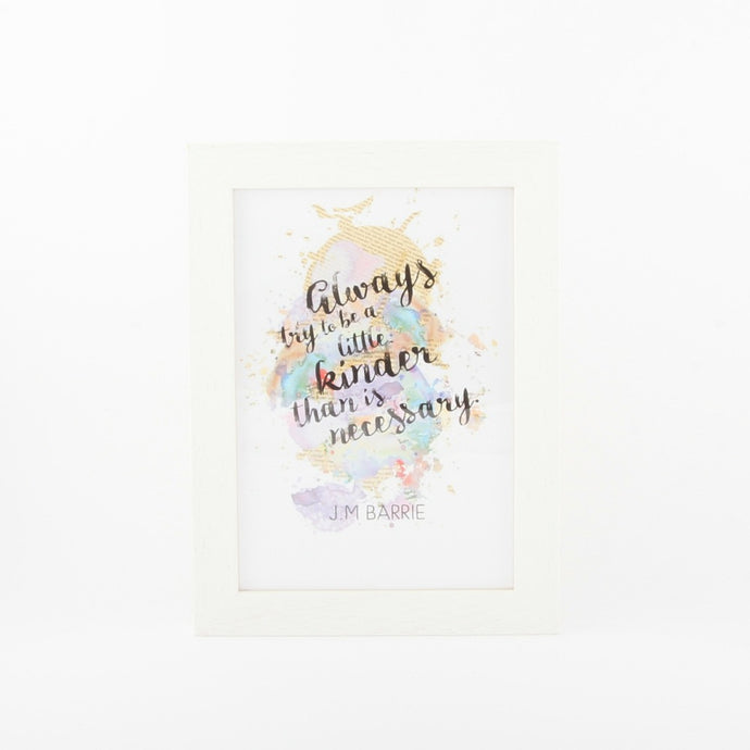 A5 print with J.M. Barrie quote