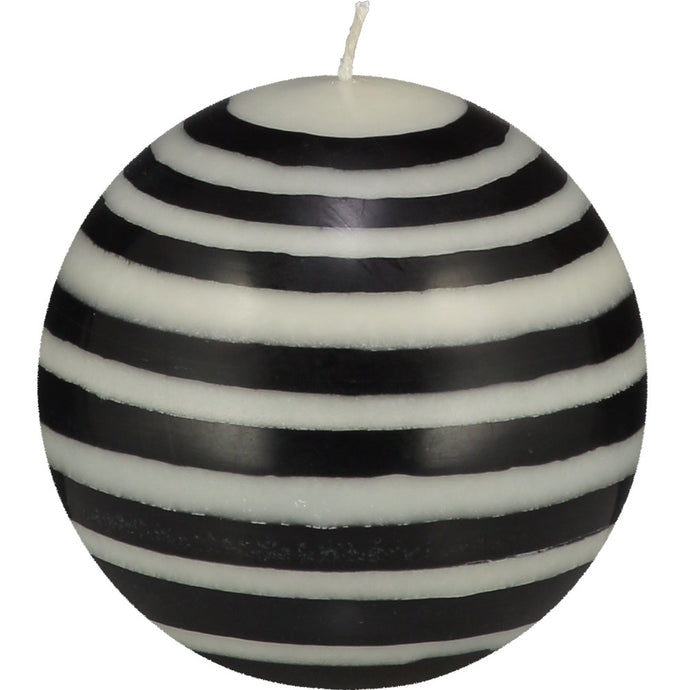 ball shaped candle with black and white stripes