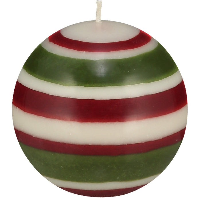 ball shaped candle with red, green and white stripes