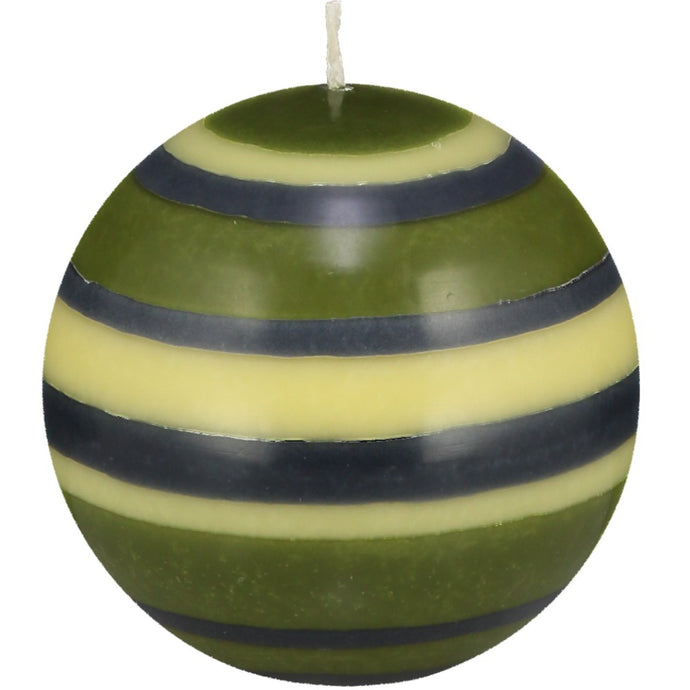 ball shaped candle with olive green, indigo blue and yellow stripes