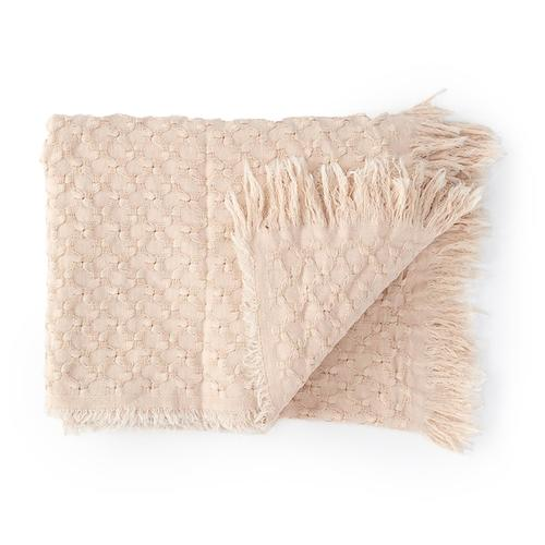 blush pink waffle weave cotton throw