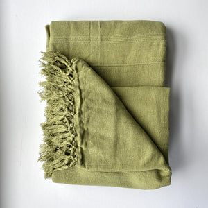 sage green hand woven cotton throw