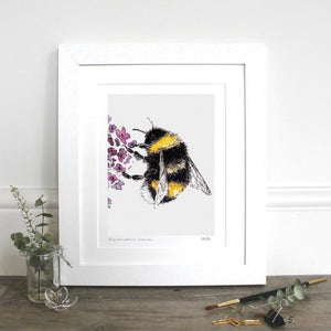 drawing of a bee on a purple flower with white mount and white frame