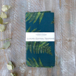 blue cotton teatowel with fern print