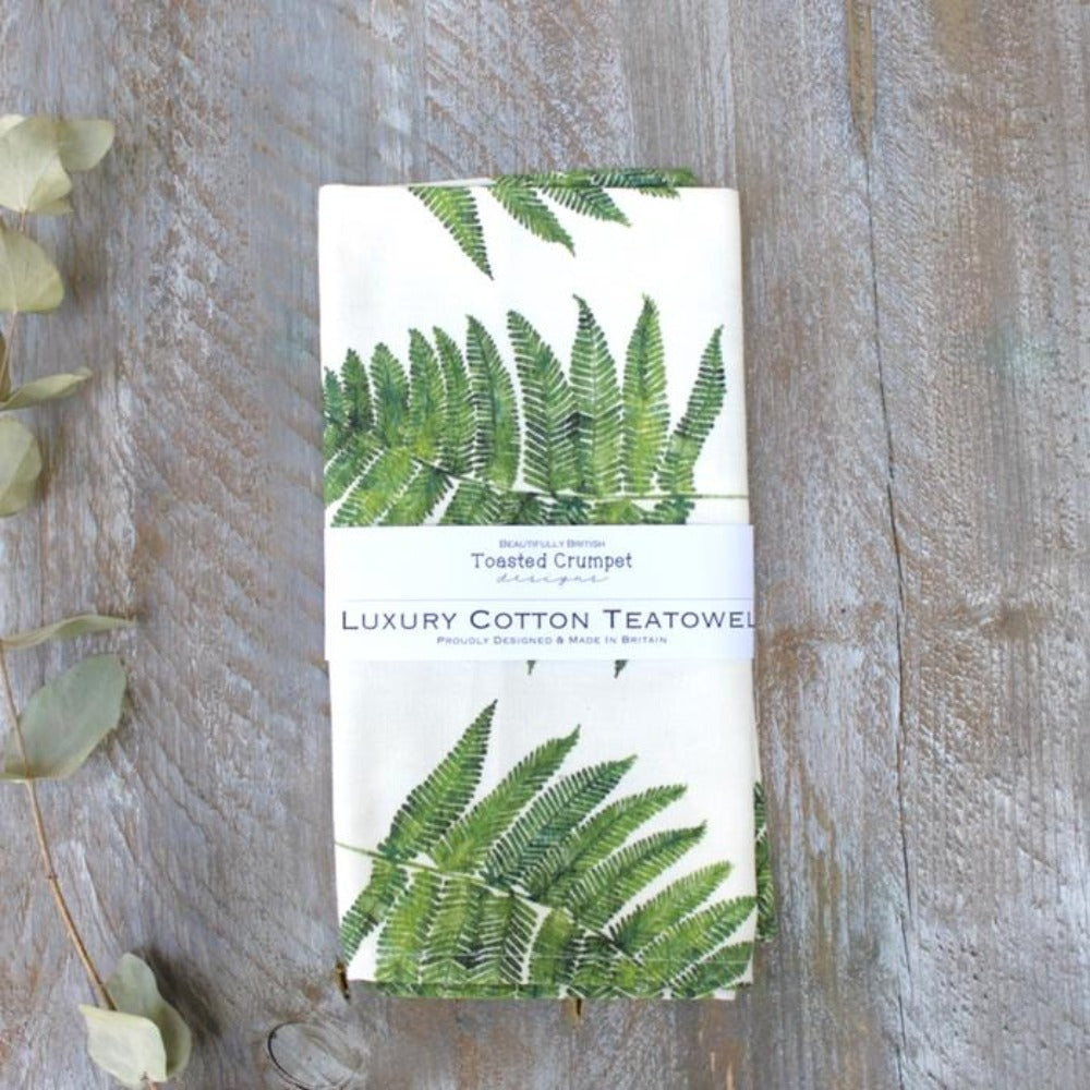 white cotton tea towel with fern print