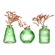 Load image into Gallery viewer, Three green bud vases with flowers