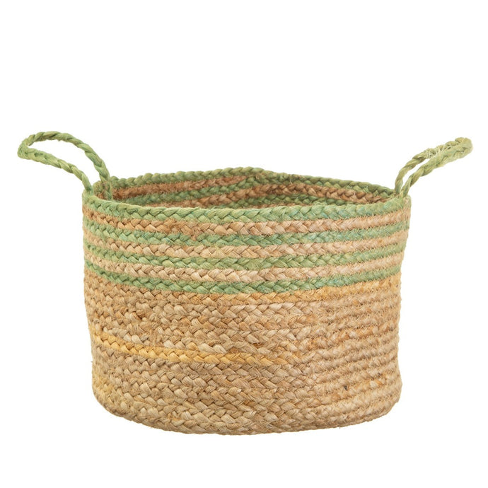 woven jute basket with green stripe