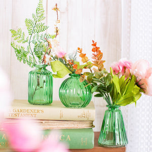 Glass Bud Vases - Green