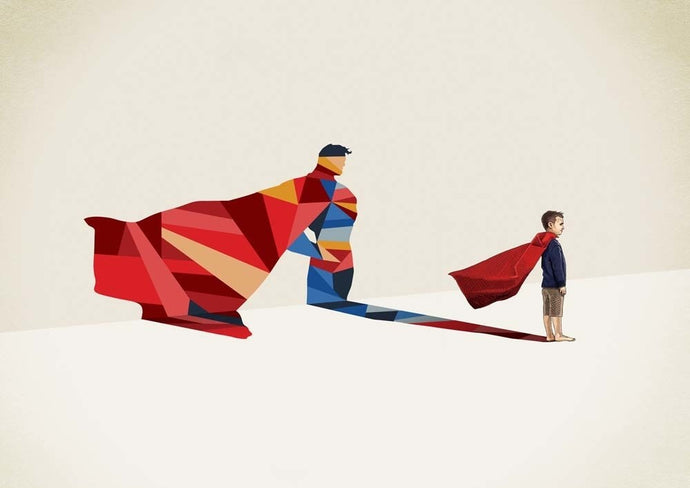 A3 unframed print with geometric image of a small boy in a cape with a superman shadow