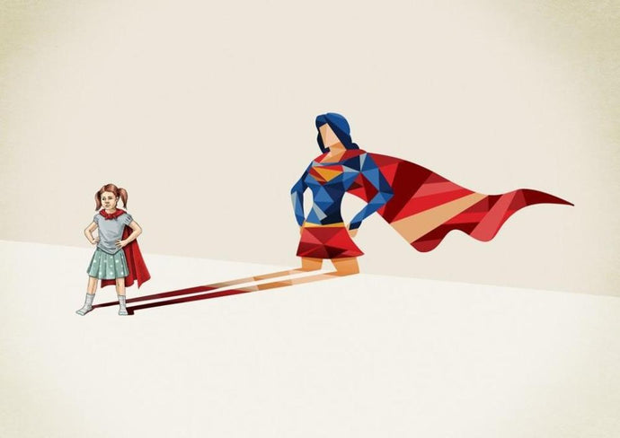 A3 unframed print with geometric image of a small girl in a cape with a superwoman shadow