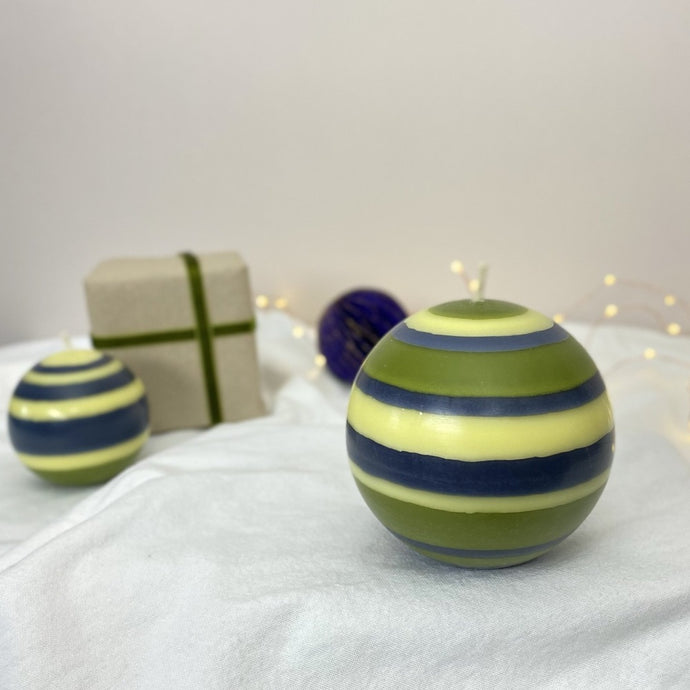 Large Striped Ball Candle - Olive, Indigo and Yellow