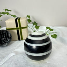 Load image into Gallery viewer, Small Striped Ball Candle - Black and White