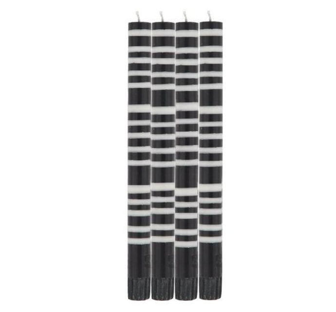 Striped Dinner Candles - Black and White