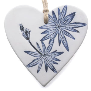 Handmade heart made from clay and pressed leaf impression painted blue