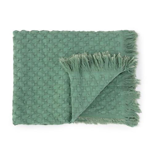 Mint Green waffle weave cotton throw