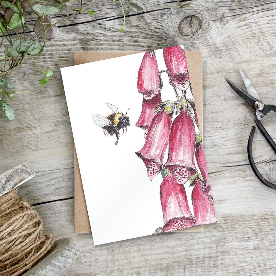 Note Card - Bee and Foxglove