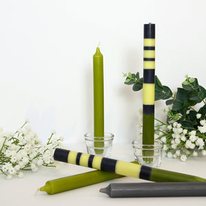 Striped Dinner Candles - Green