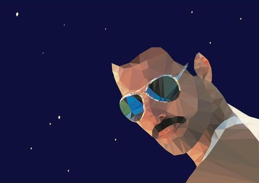A3 unframed print with geometric image of Freddie Mercury wearing sunglasses against a night sky