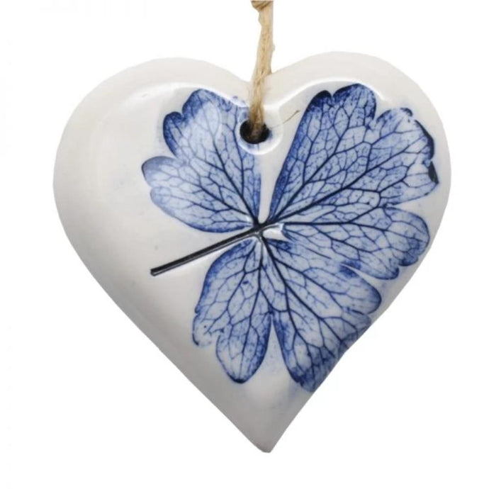 Small Pressed Leaf Heart - Blue