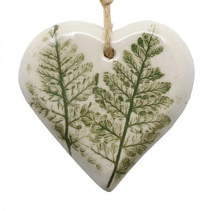 Small Pressed Leaf Heart - Green
