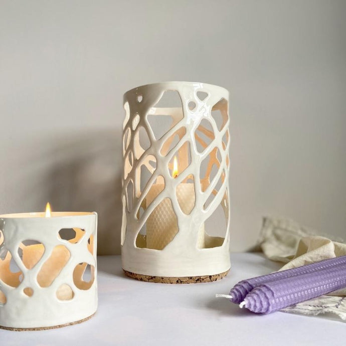 Seafoam inspired lantern with small tealight holder and lilac beeswax candles