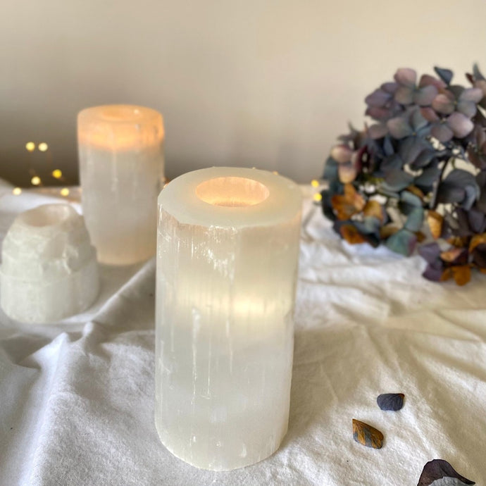 Selenite Candle Holder - Large