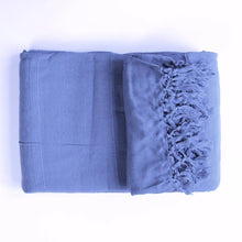 Load image into Gallery viewer, Textured Cotton Throw Blanket in slate blue