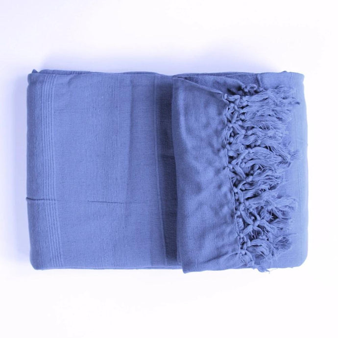 Textured Cotton Throw Blanket in slate blue