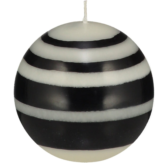Small Striped Ball Candle - Black and White