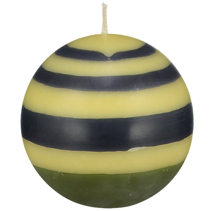 Small Striped Ball Candle - Olive, Indigo and Yellow
