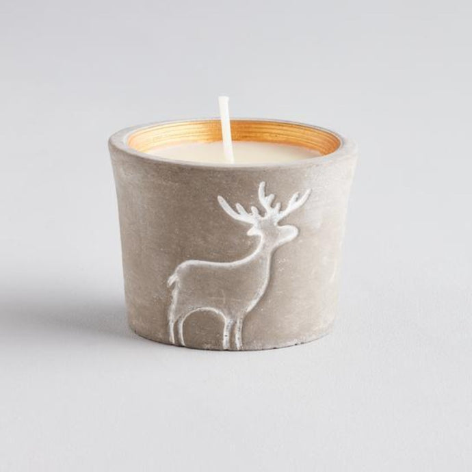 Reindeer Scented Candle Pot - Orange and Cinnamon