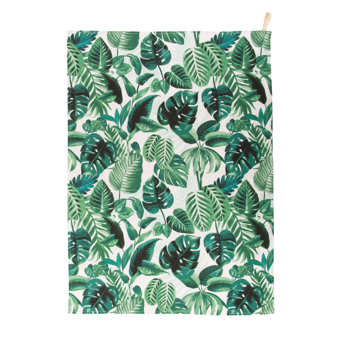 White and green tea towel with botanical leaf print